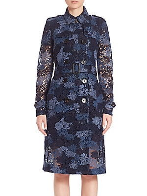 Dartford Double-Breasted Lace Trench Coat