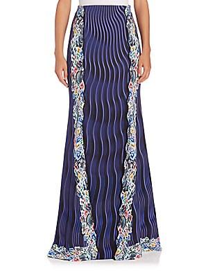 High-Waist Mixed-Print Maxi Skirt