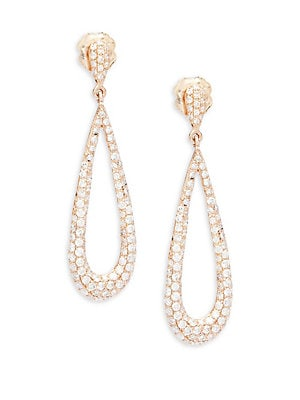 Diamond & 14K Rose Gold Tear-Drop Earrings