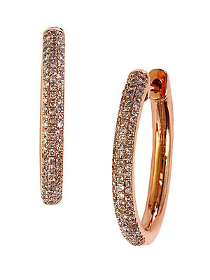 Diamond And 14K Rose Gold Hoop Earrings