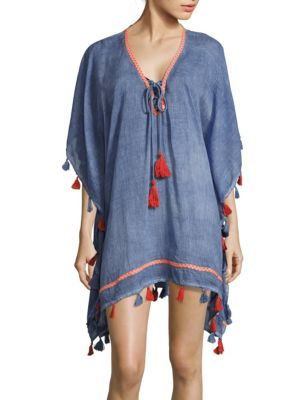 Tassel Lace-Up Cotton Cover-Up Saks Fifth Avenue BLUE