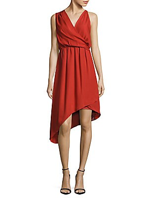 Silk Solid Wrap Dress