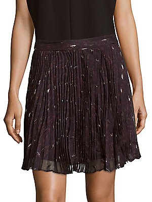 Goodnight Pleated Silk-Blend Mini Skirt