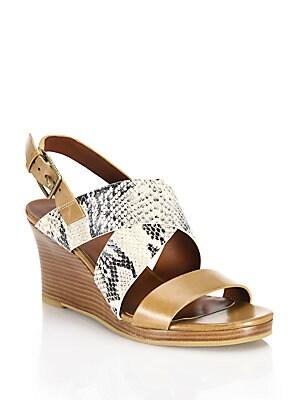 Penelope Leather & Snake-Embossed Wedge Sandals