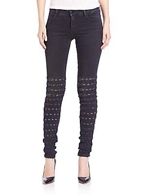 Al Jarretelle Embroidered Skinny Jeans