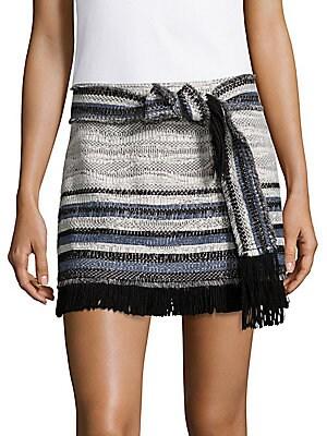 Fringed Multi-Stripe Skirt
