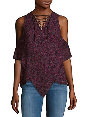 Crisscross Tie-Up Cold-Shoulder Top
