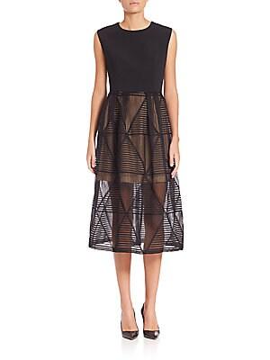 Geometric Lace Skirt Long Dress