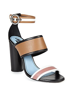 Striped Leather Ankle-Strap Sandals