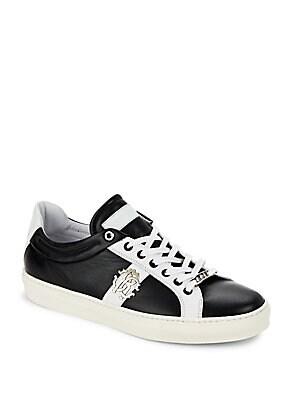 Applique Low Top Leather Sneakers