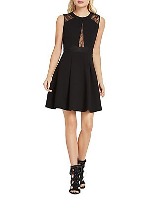 Lace Trimmed Fit-and-Flare Dress