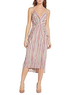 Textured Stripe Faux-Wrap Dress