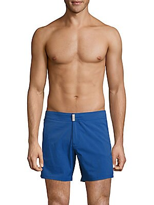 Solid Zip-Fly Swim Shorts