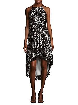 Halterneck Floral Lace Dress