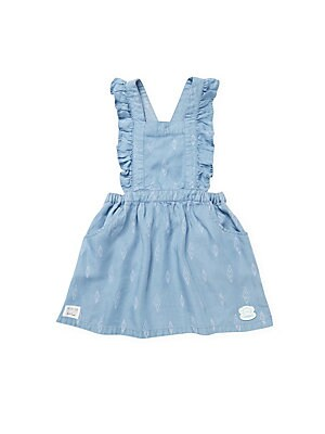 Little Girl's Flutter Sleeves Woven Pinafore