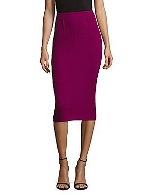 Back-Slit Wool Bodycon Skirt