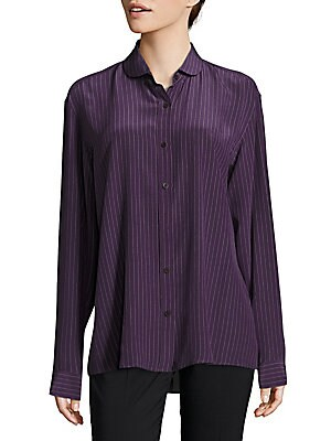 Striped Casual Button-Down Silk Shirt