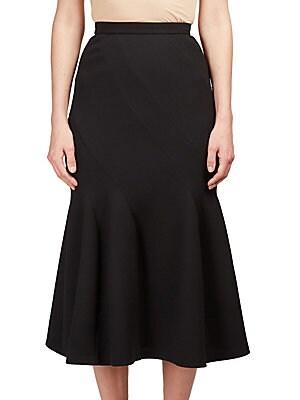 Wool Blend Pleated Skirt