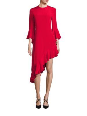 Silk Bell Sleeve Asymmetric Ruffle Hem Dress ALEXIS BARBARA