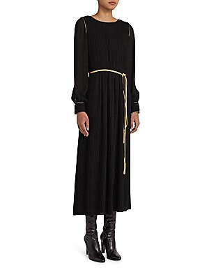 Belted Plisse Maxi Dress