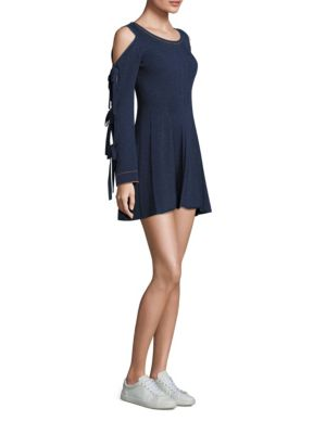 Cold Shoulder Tie Sleeve Flare Dress Opening Ceremony