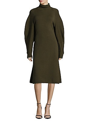 Solid Wool Turtleneck Dress