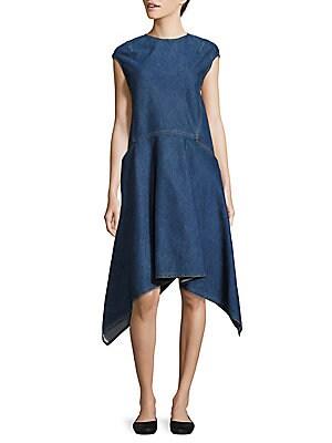Handkerchief-Hem Denim Dress