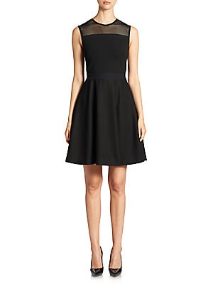 Mesh-Detail Fit-and-Flare Dress