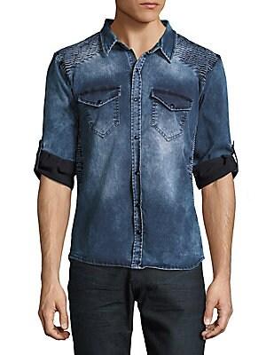 Moto-Shoulder Denim Shirt