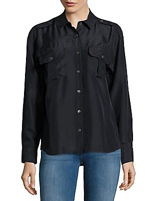 Edie Silk Casual Button-Down Shirt