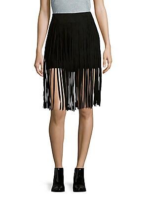 Solid Leather-Fringe Skirt