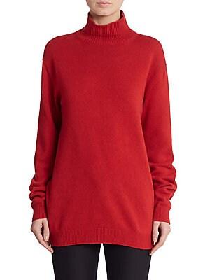 Cape-Back Turtleneck Sweater