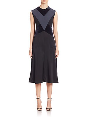 Sleeveless Geometrical Velvet Satin Dress