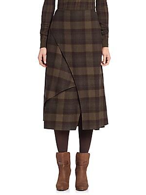 Plaid Cashmere Wrap Skirt