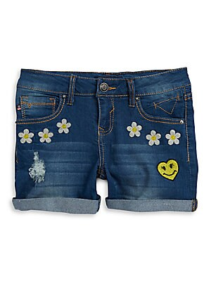 Girl's The Jagger Embroidered Denim Shorts