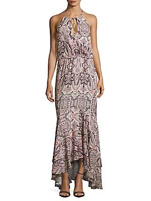 Francesca Halterneck Sleeveless Floral-Print Dress