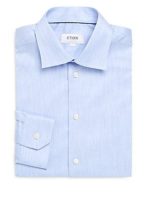 Textured Slim-Fit Cotton Dress Shirt