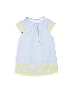 Baby's Micro-Stripe Scalloped Dress