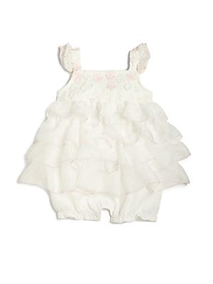 Baby's Flower-Appliqué Ruffled Romper