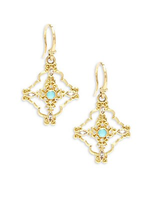 Sueno Diamond, Sapphire, Blue Reconstituted Turquoise, Rainbow Moonstone & 18K Yellow Gold Drop Earrings