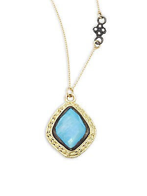 Old World Champagne Diamond, Blue Turquoise, Rainbow Moonstone & 18K Goldplated Sterling Silver Pendant Necklace