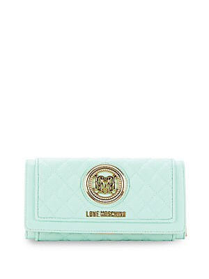 Quilted Metal-Logo Clutch