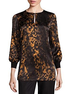 Kelsey Silk Leopard-Print Blouse