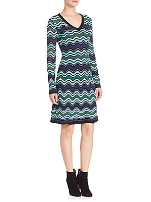 Ripple Knit Long Sleeve Dress