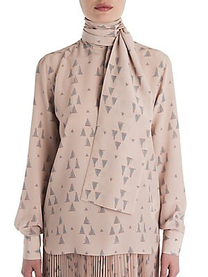 Tie-Neck Geometric-Print Blouse