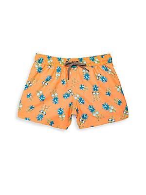 Little Boy's & Boy's Pineapple & Sunglass-Print Swim Shorts