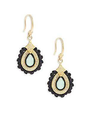 Old World White Diamond, Chrysoprase, Moon Quartz & 18K Goldplated Sterling Silver Drop Earrings