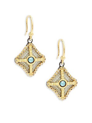 Old World Champagne Diamond, Blue Turquoise, Rainbow Moonstone & 18K Goldplated Sterling Silver Drop Earrings