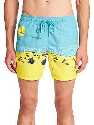 Beach-Print Swim Trunks