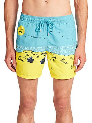 Beach-Print Swim Trunks